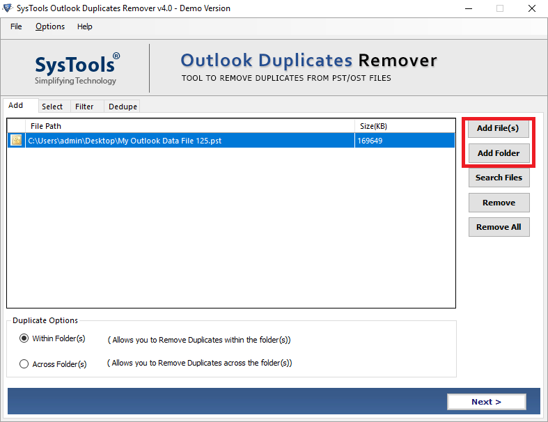 Add PST File or Folder