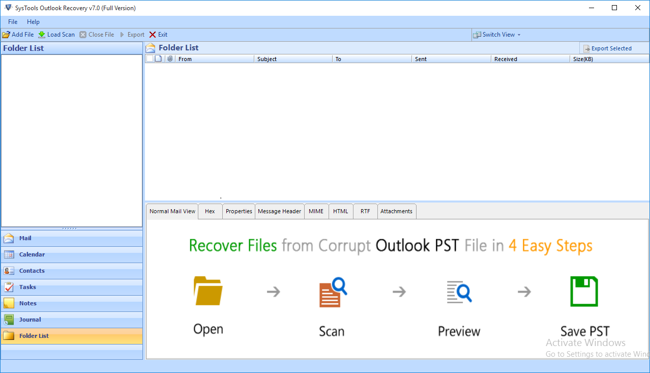 Download Free - PST file repair Software and Add File