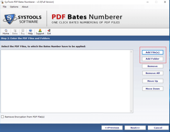 select file for bates numbering