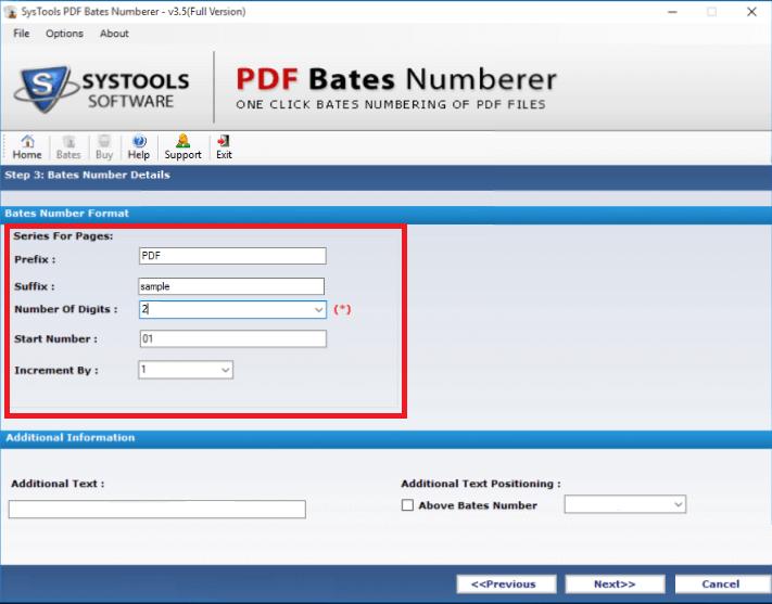 Insert Bates stamp to PDF file
