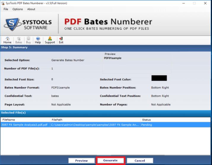 pdf page numberer generate bates