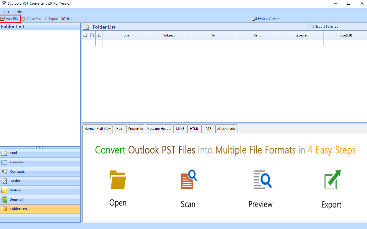add outlook pst contacts file