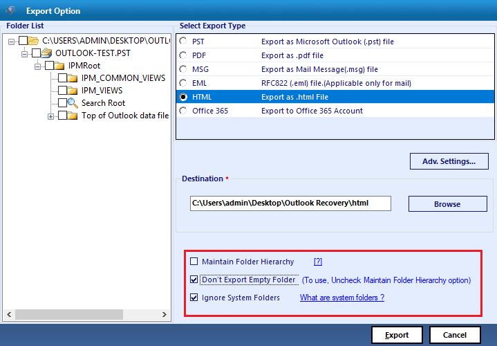 don't export empty folders