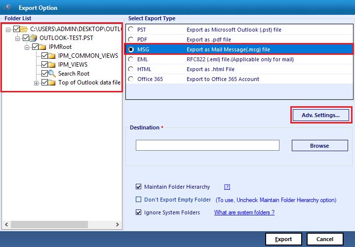 select msg option