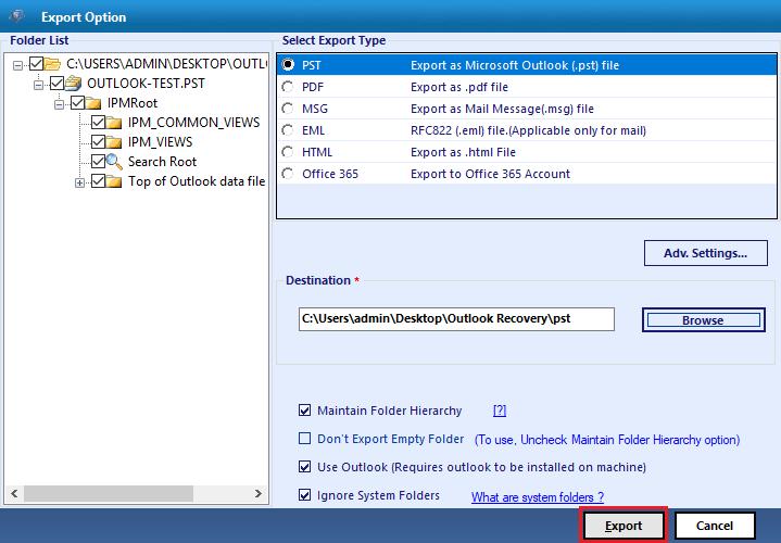 export repairedpst files