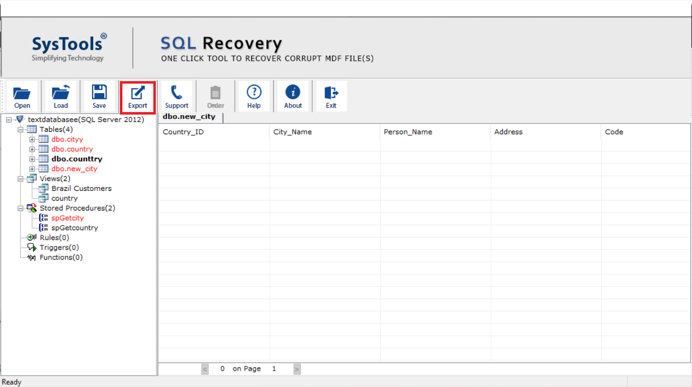 preview recovered database objects