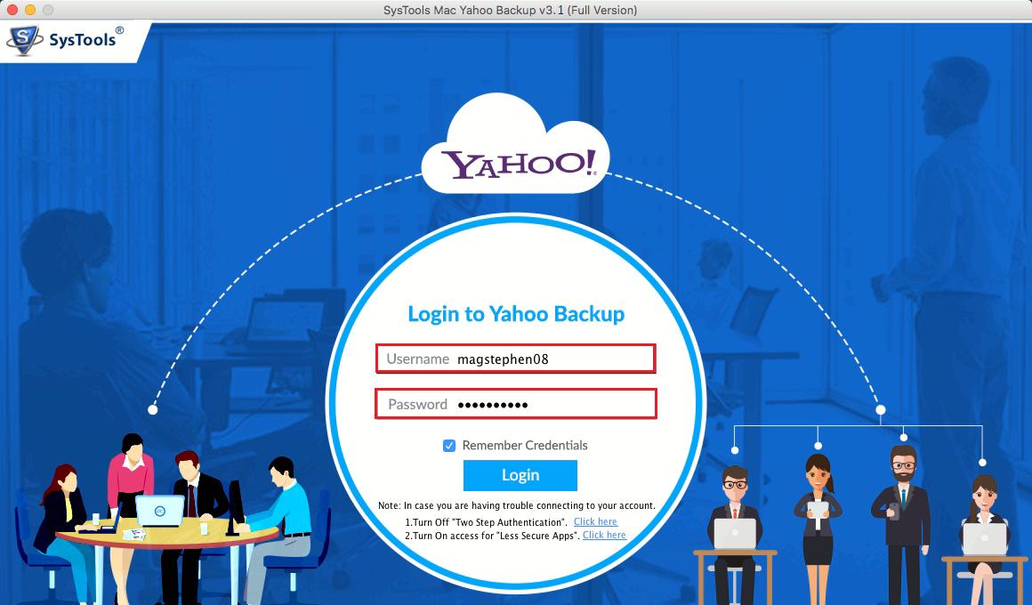 Run Mac Yahoo backup Tool